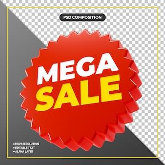 Banner promocional de mega venda vermelho 3d