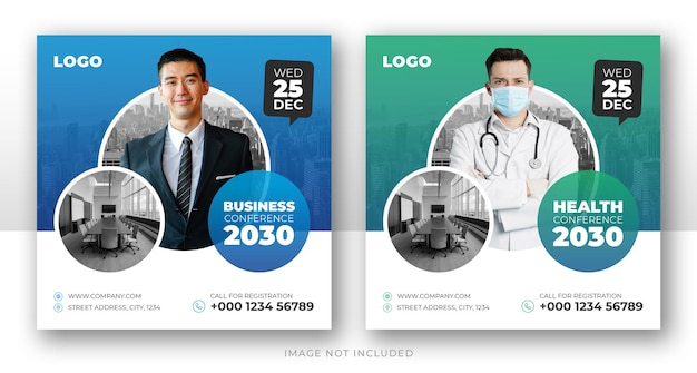 Banner promocional de mídia social para conferências de negócios e modelo de flyer