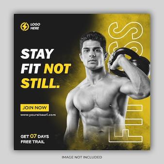 Banner promocional do instagram para ginástica e condicionamento físico ou modelo de postagem nas redes sociais
