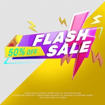 Banner promocional título de desconto de venda flash 3d