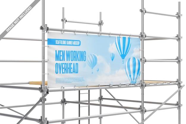 Banner publicitário de vinil em maquete de construção de metal Psd Premium