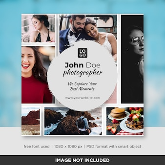 Banner quadrado de fotografia ou modelo de panfleto