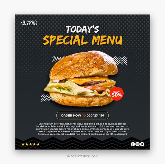 Banner quadrado de menu de restaurante