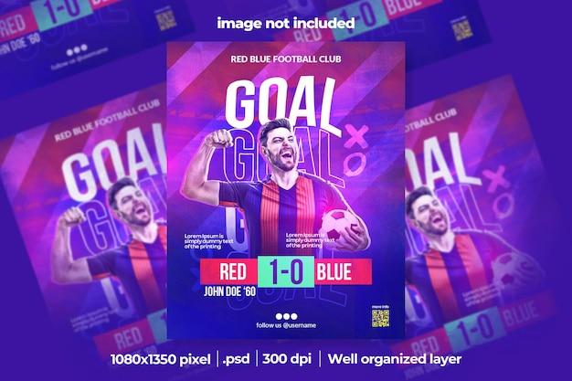 Banner quadrado de mídia social de esporte de futebol