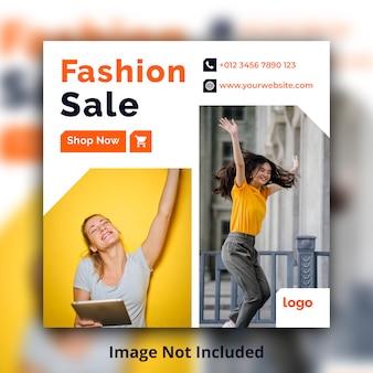 Banner quadrado de mídia social de venda de moda
