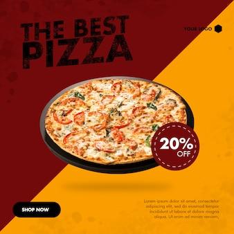 Banner quadrado de pizza para mídias sociais
