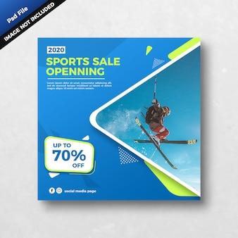 Banner quadrado de venda de esportes