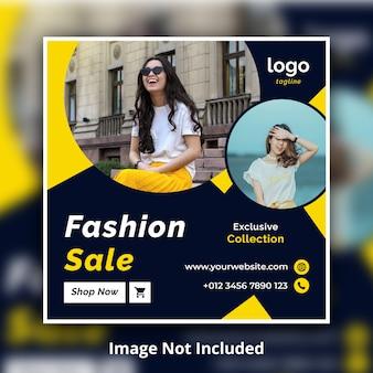 Banner quadrado de venda de moda