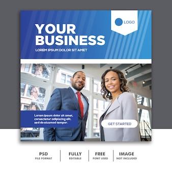 Banner quadrado modelo de postagem de mídia social business blue corporate