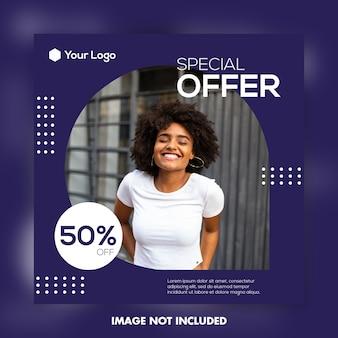 Banner quadrado, modelo de postagem de oferta especial do instagram