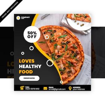 Banner quadrado ou panfleto para restaurantes de pizza