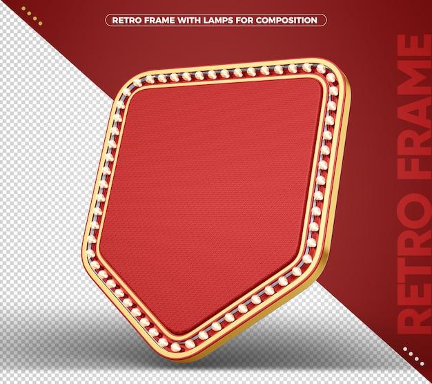 Banner retro vintage com sinal vermelho e dourado para composição