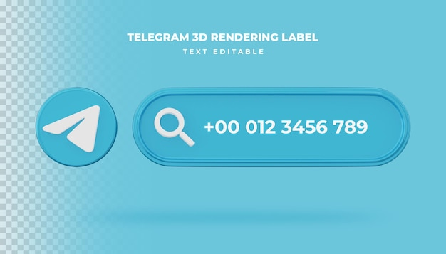 Banner search icon telegram 3d rendering banner isolated