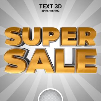Banner super venda renderização em 3d
