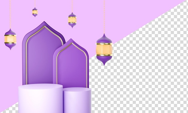 Banner template 3d pódio eid mubarak concept