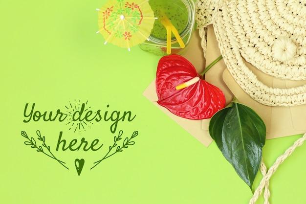 Banner tropical com saco de palha no fundo verde