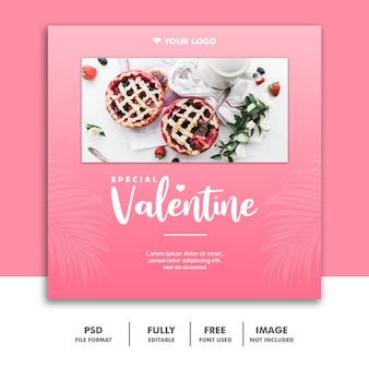 Banner valentine rosa post mídia social instagram torta comida especial