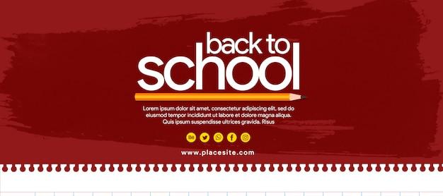 Banner vermelho de volta à escola com lápis