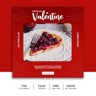 Banner vermelho dos namorados post mídia social instagram comida torta