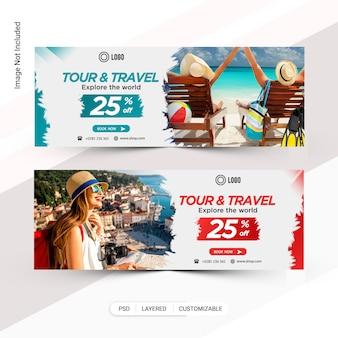 Banner web de turismo e viagens, capa do facebook