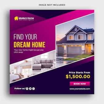 Banner web imobiliária e modelo de mídia social premium psd