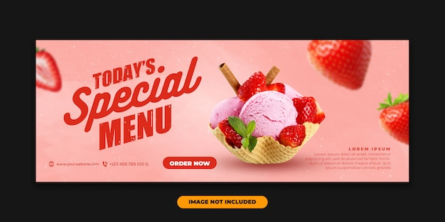 Banner web modelo capa facebook com alimentos especiais sorvete morango