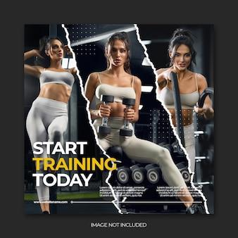 Banners da web de mídia social de fitness para academia