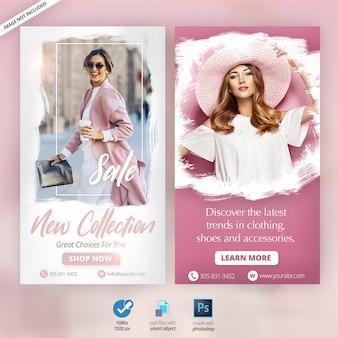 Banners de anúncios de histórias do instagram de moda