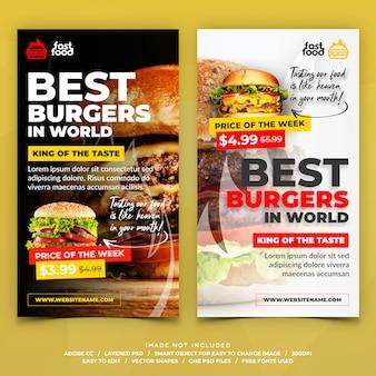 Banners de histórias do instagram de restaurantes de comida de hambúrguer