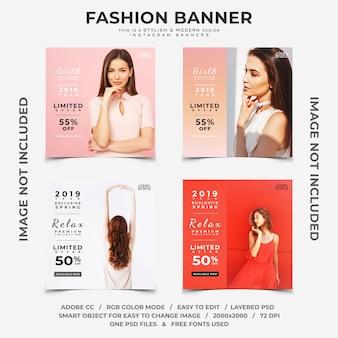 Banners de instagram de descontos de evento de moda