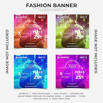 Banners de instagram de descontos de moda gamer