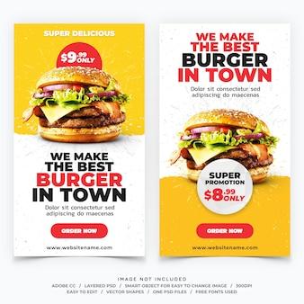 Banners de modelo de histórias de instagram de hambúrguer de fast food