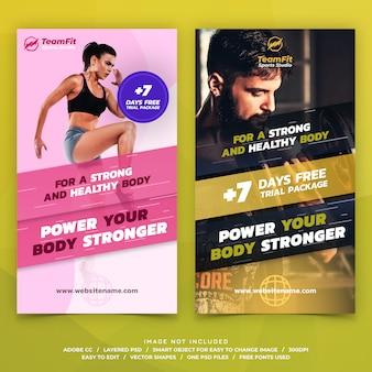 Banners de modelo de histórias do instagram de esportes