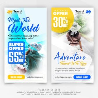 Banners de modelo de histórias do instagram de viagens