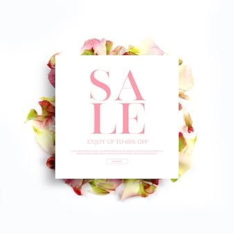 Banners de temporada primavera e quadros, modelo com lindas flores, fundo de convite