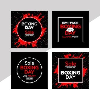 Banners de venda do dia de boxe