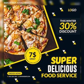 Banners de web social de venda de alimentos