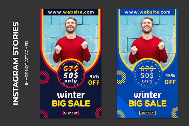 Banners de web social de venda de inverno premium