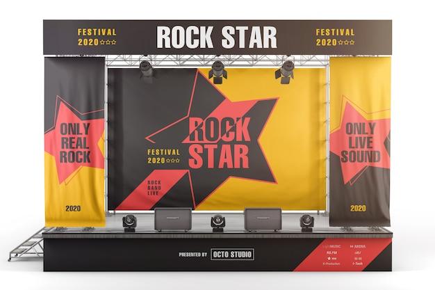 Banners e placas de publicidade de palco maquete de vista frontal