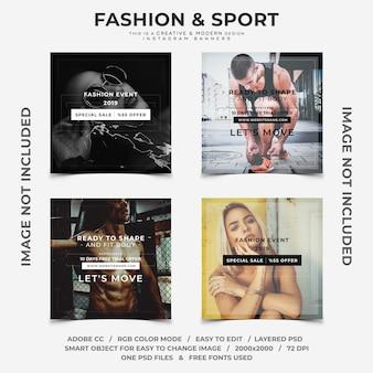 Banners instagram moda criativa e descontos de esporte