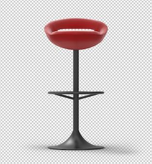 Banqueta de bar vermelho. armação de metal preta. plano de fundo transparente.