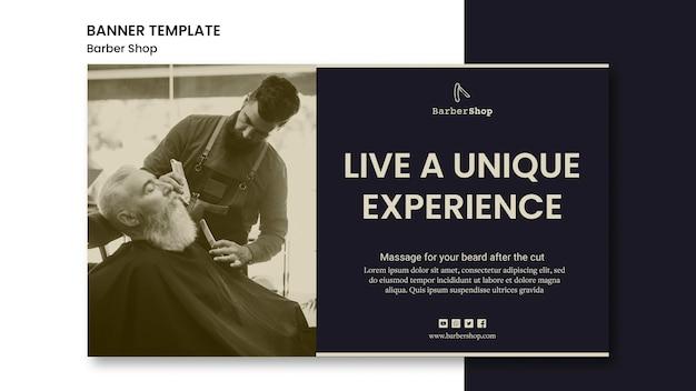 Barbearia de modelo de banner com imagem