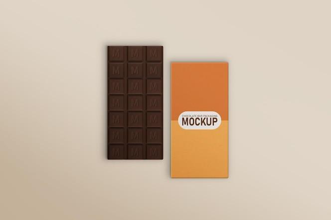 barra de chocolate e maquete de barra de chocolate