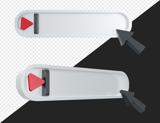 Barra de pesquisa em branco realista 3d com ponteiro e símbolo de botão de reprodução isolados