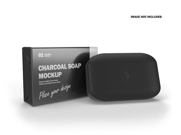 Barra de sabão 3d a carvão com maquete de embalagem brilhante