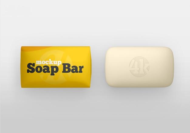 Barra de sabão fosco e maquete de embalagem