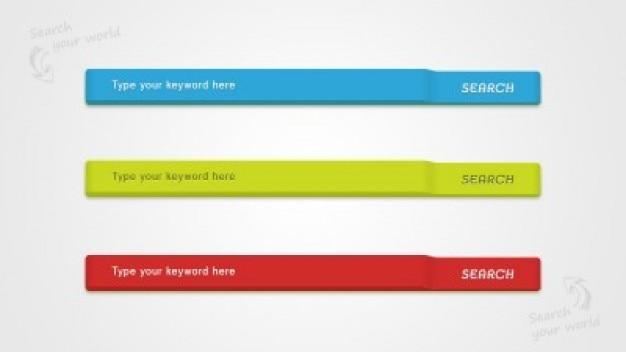 Barras de busca web elementos coloridos