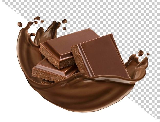 Barras de chocolate com respingos de chocolate isolados