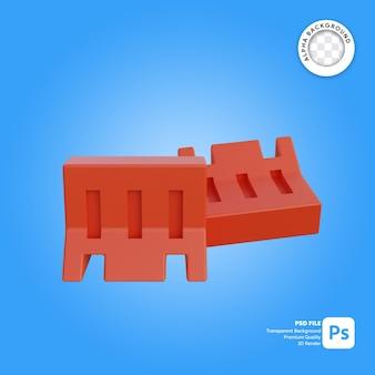 Barreira de tráfego 3d caindo objeto simples