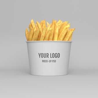 Batatas fritas embalagem mockup